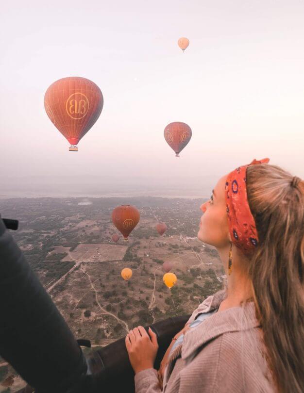 bagan guide hot air balloons happy