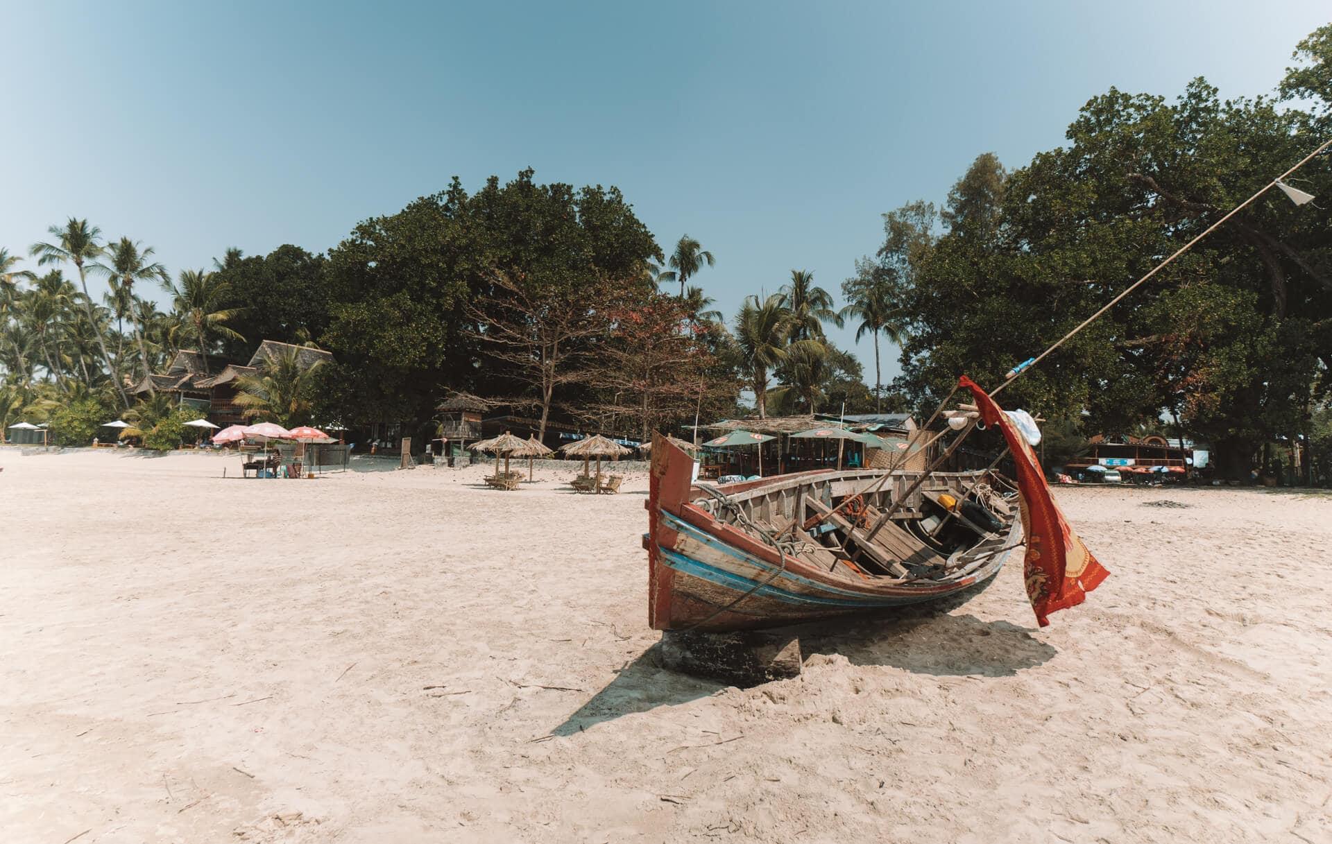 ngapali most beautiful beach boat
