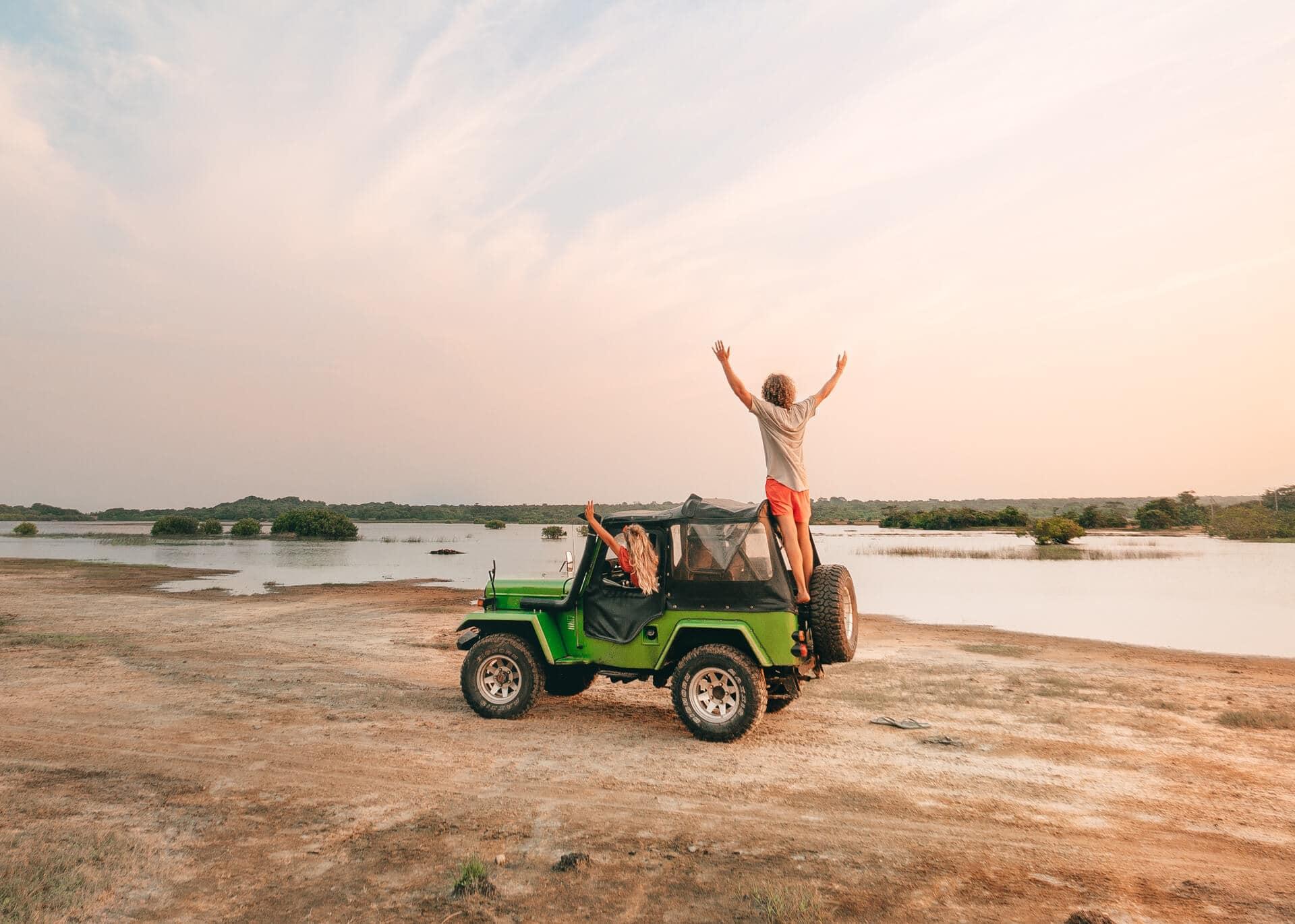 road trip east coast sri lanka jeep sunset