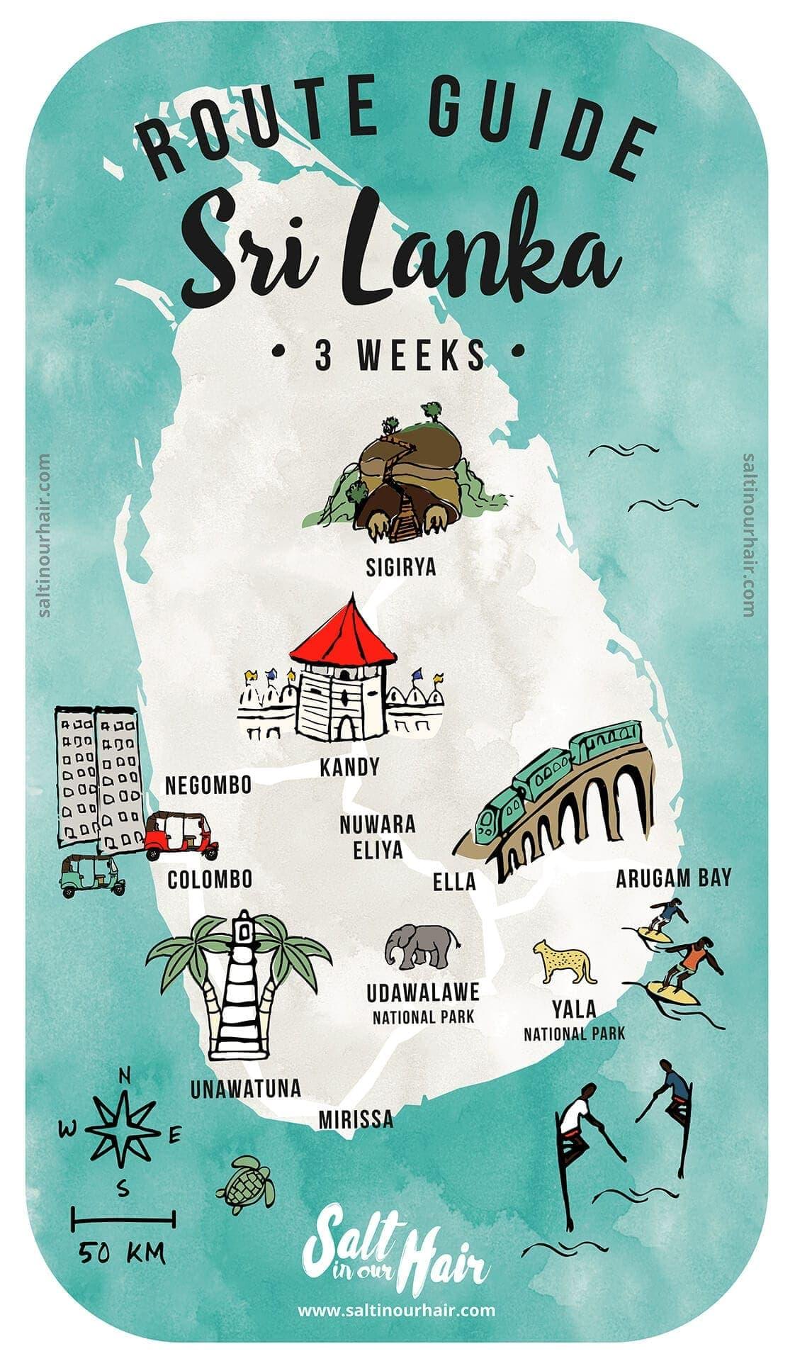 Sri lanka 3 week route map