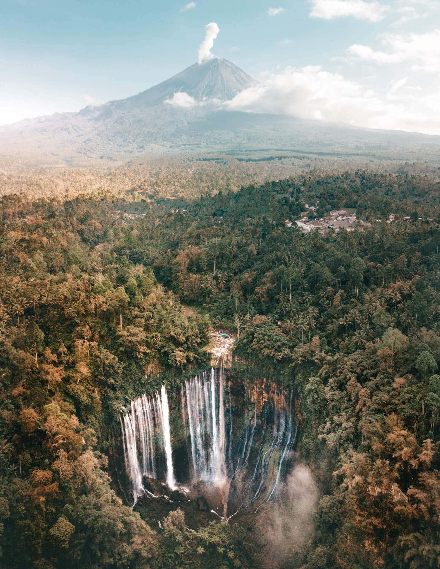 tumpak sewu best waterfall indonesia java drone