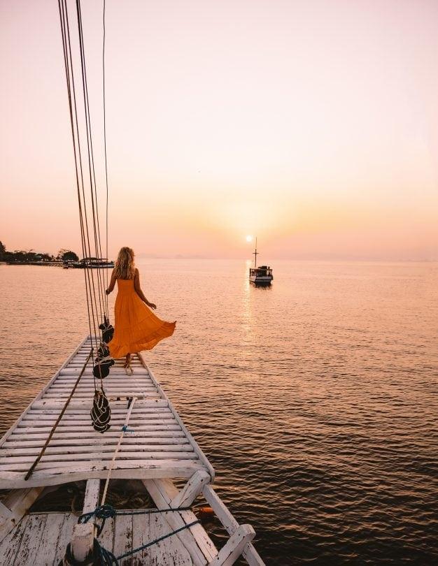 komodo islands boat sunset