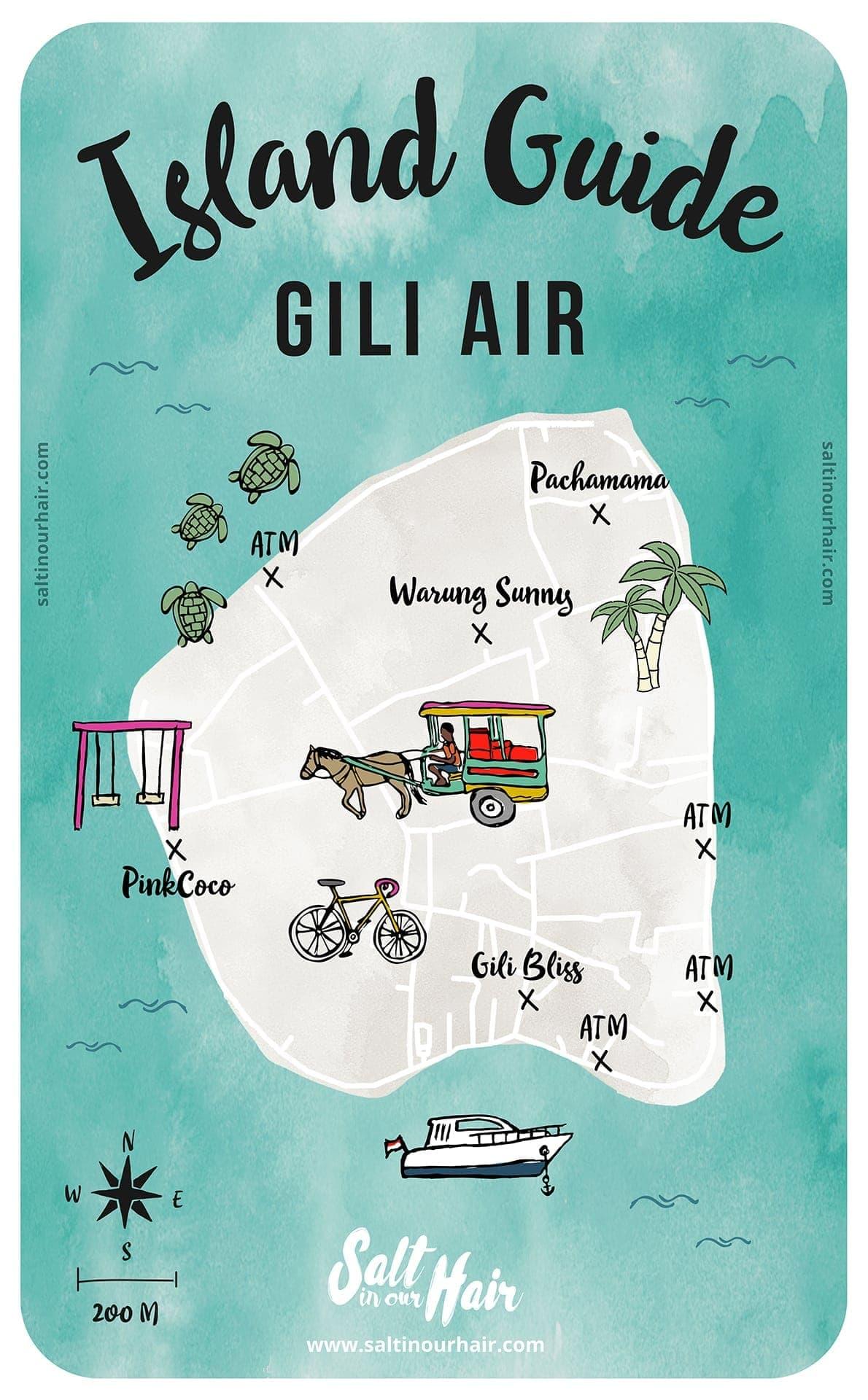 things to do gili air island map