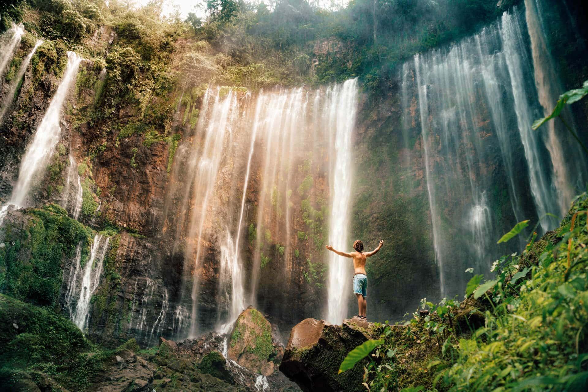 indonesia route java bali flores tumpak sewu waterfall