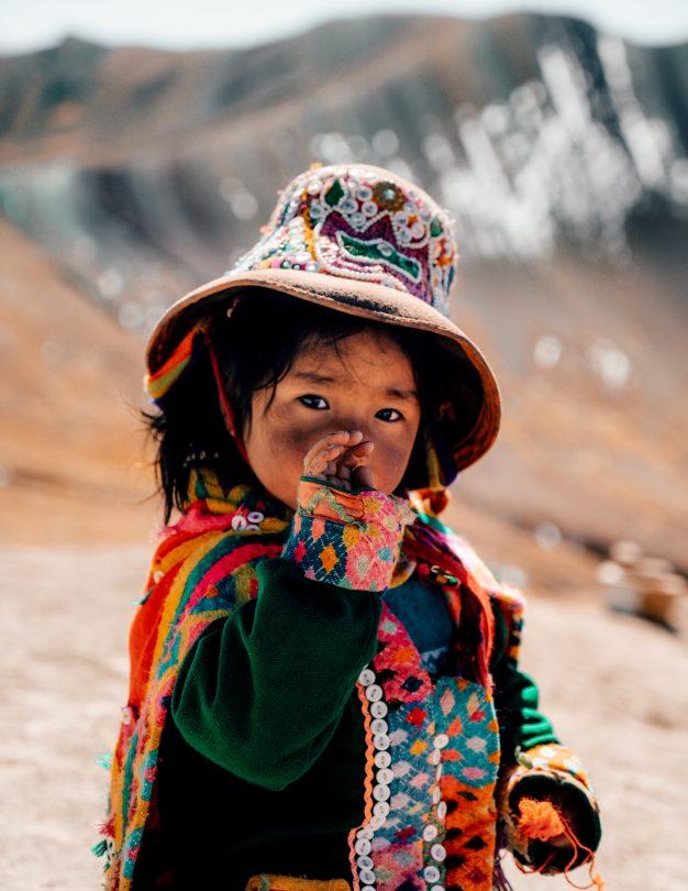 rainbow mountain peru local girl