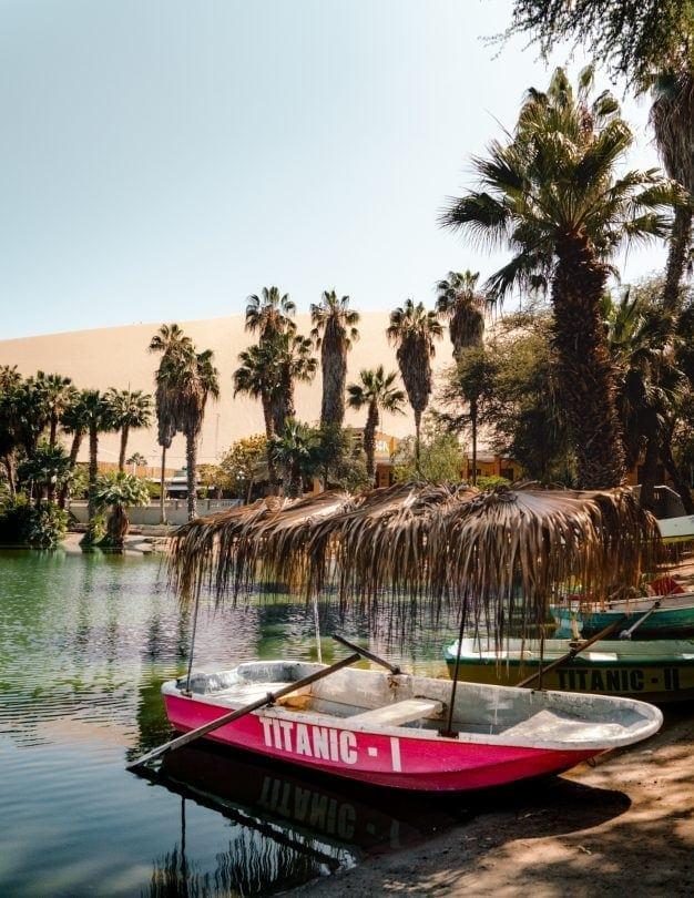 huacachina peru boat oasis