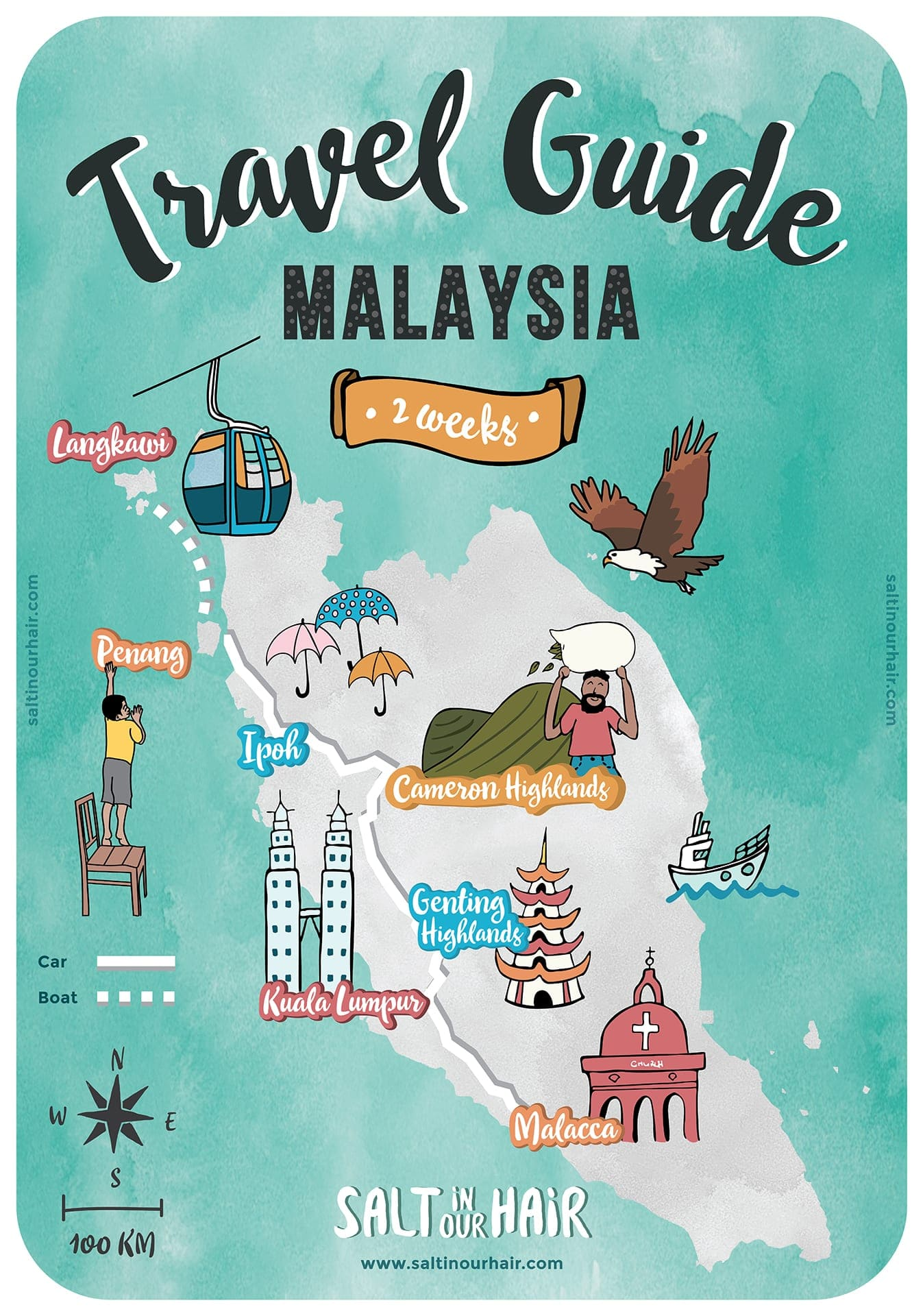 Malaysia route map travel guide