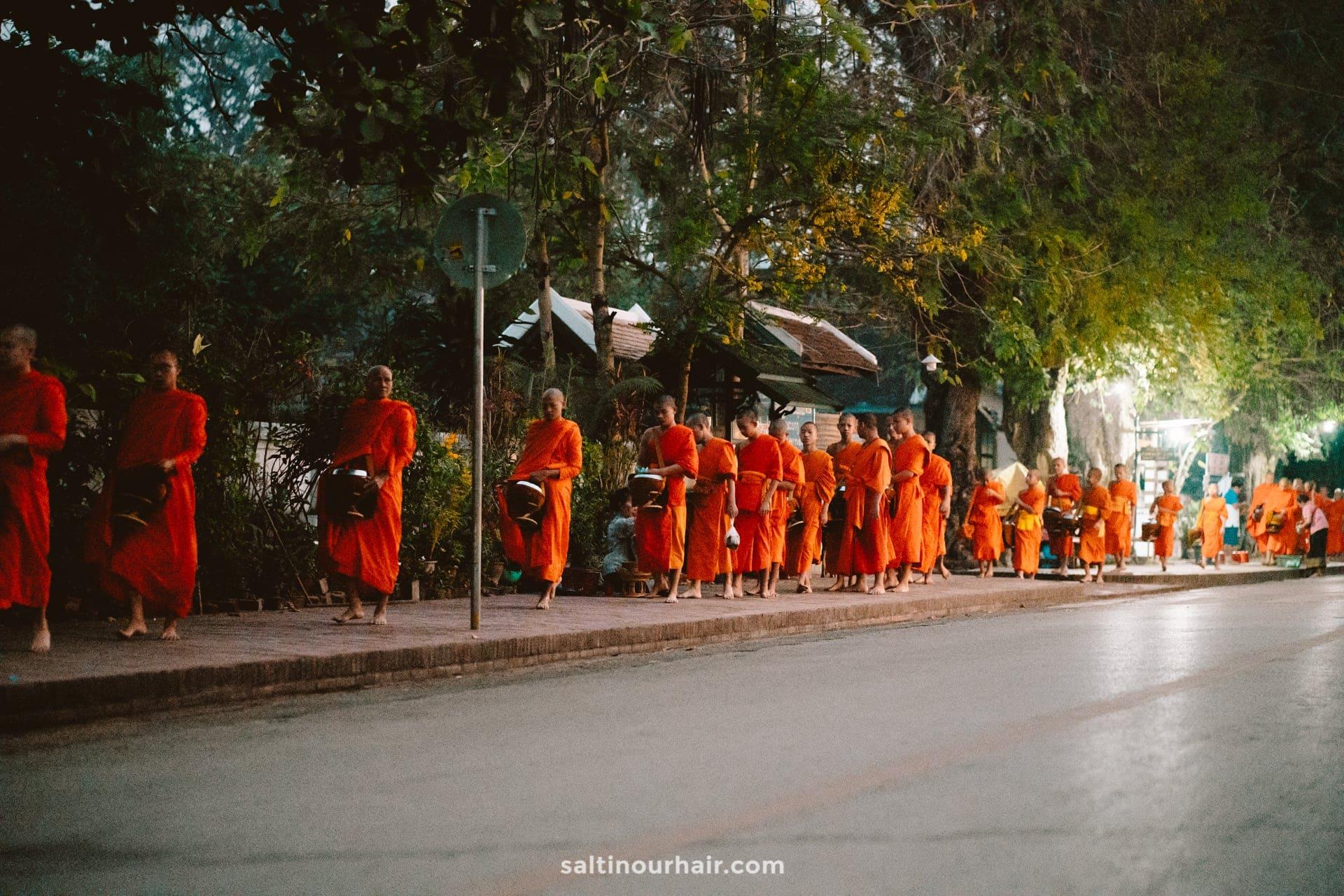 Monks Almsgiving ceremony luang prabang