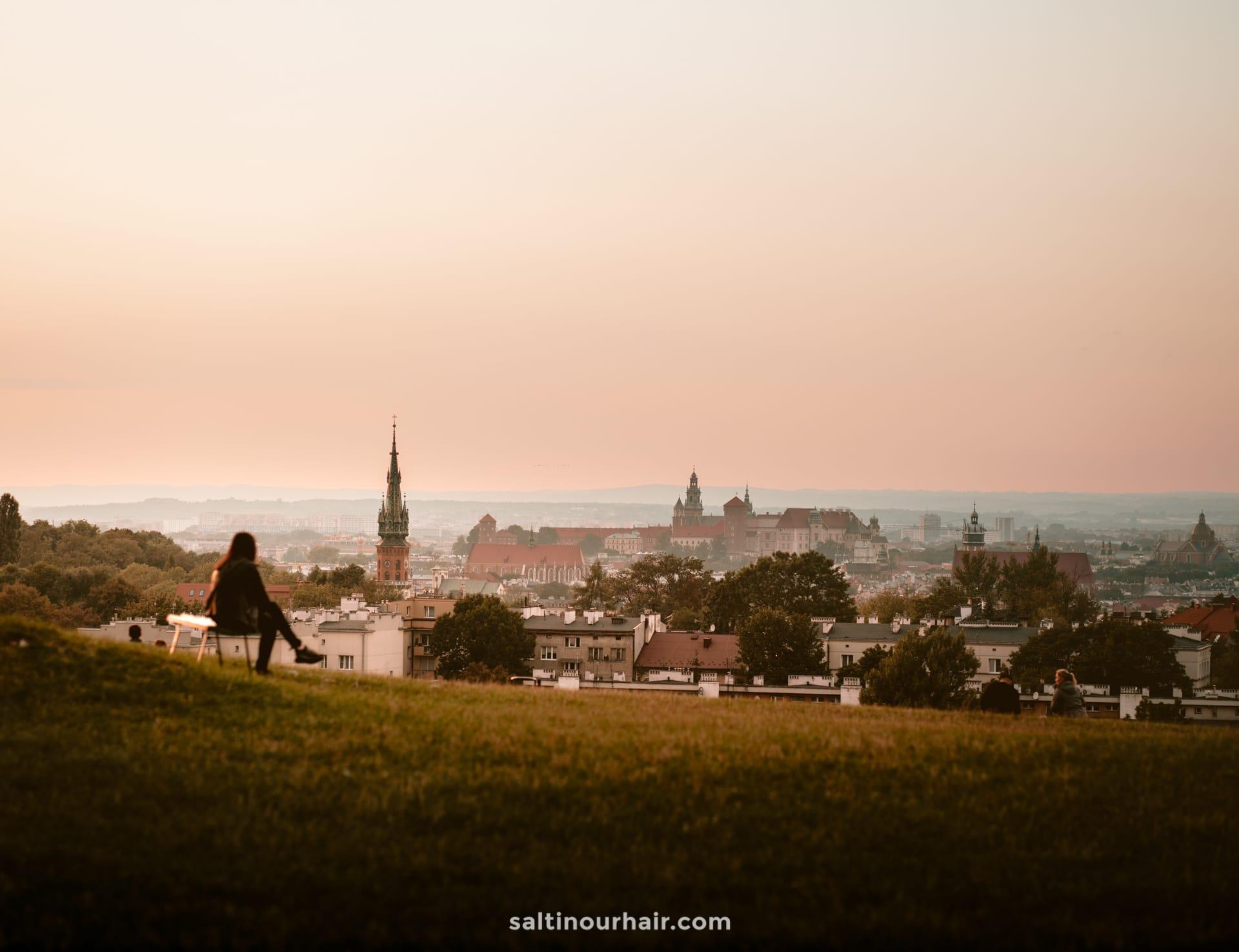 krakow poland Kopiec Krakusa sunset