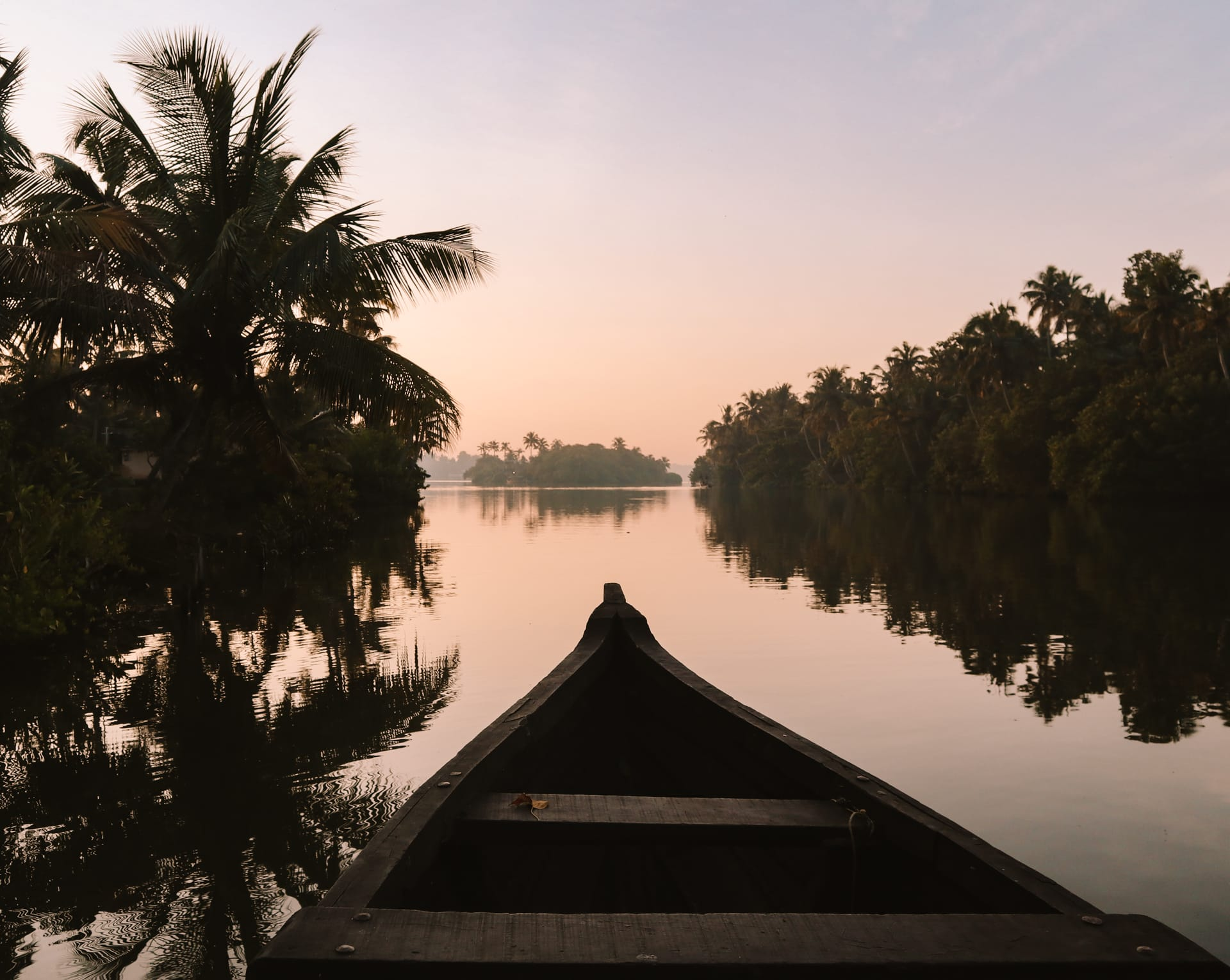 kerala india boat sunset