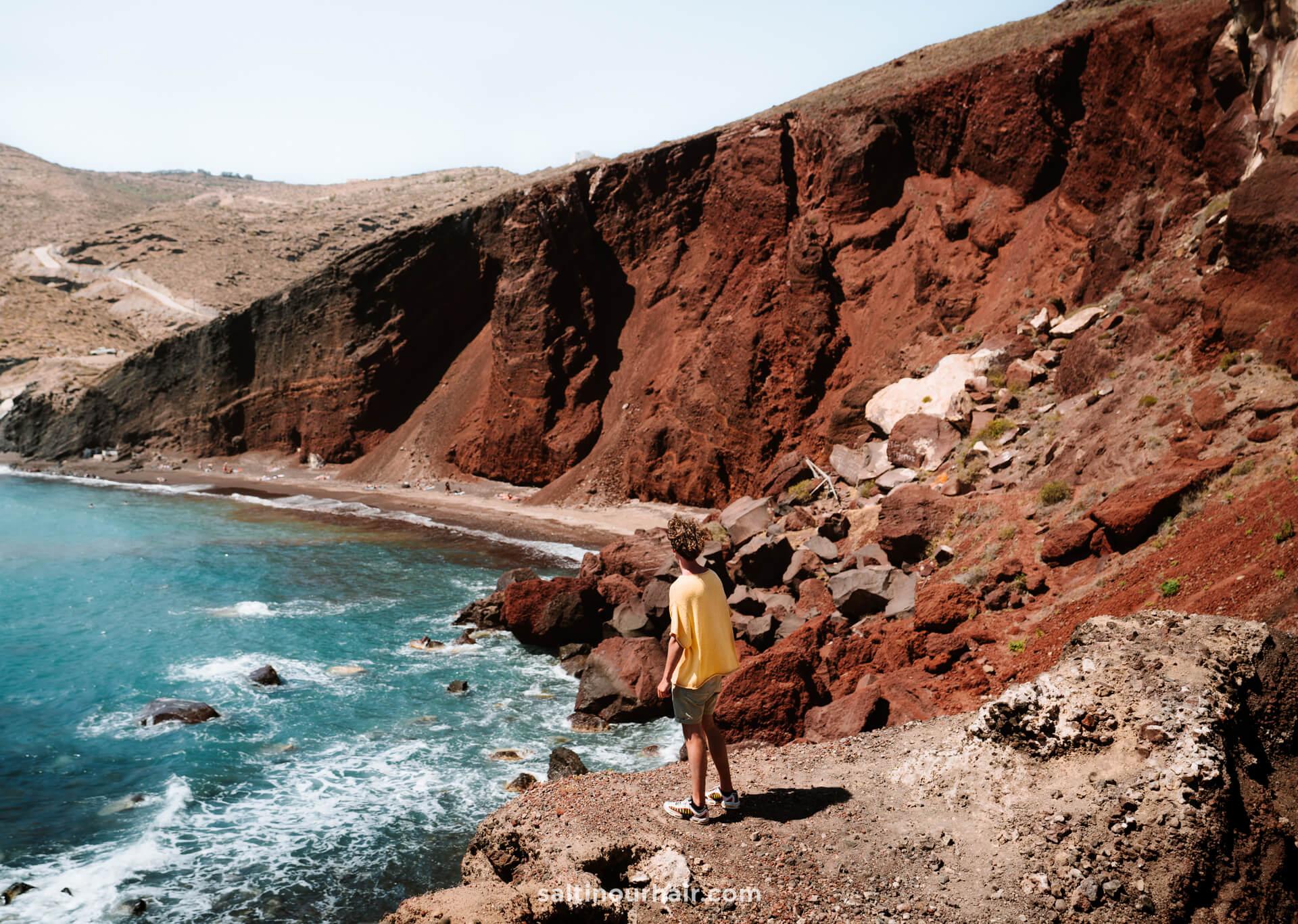 santorini things to do red beach